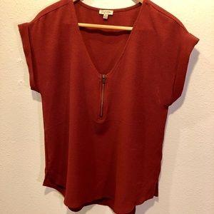 Lily White's Rust color top w/ zipper V-neck SZ M